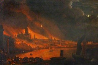 Detail- Fire of London, Anglo Dutch School c1666 (c) Society of Antiquaries