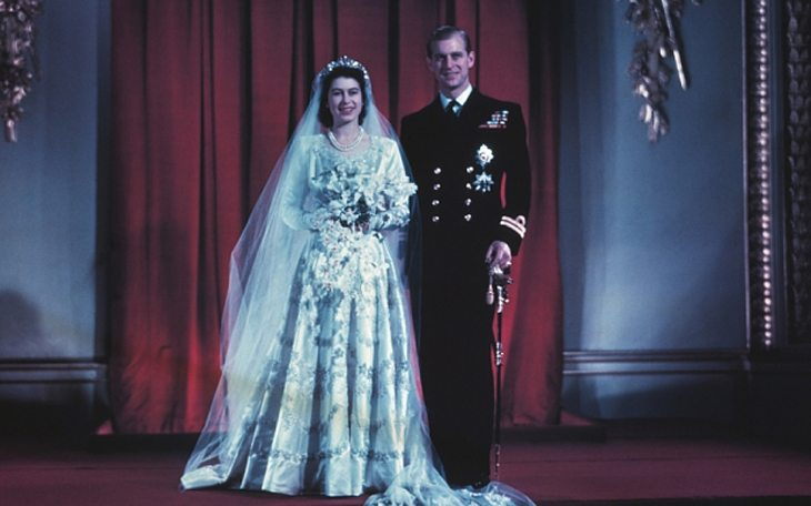 HM Queen Elizabeth II and Duke of Edinburgh pictured on their wedding day at Buckingham Palace, London, 1947