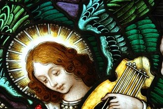 Beautiful stained glass window with a angel