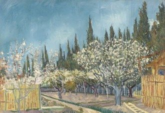 Vincent van Gogh, Dutch 1853–90, Orchard in Blossom, Bordered by Cypresses 1888, oil on canvas, 64.9 x 81.2 cm, Kröller-Müller Museum, Otterlo, © Kröller-Müller Museum