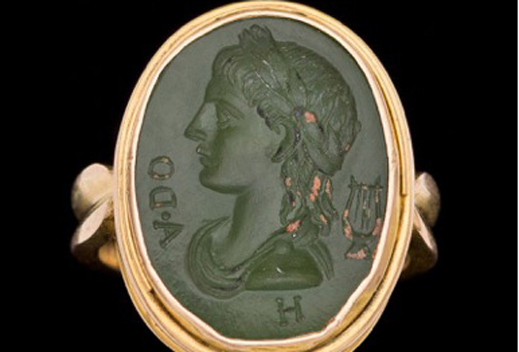 18th century green agate intaglio of Apollo, his lyre in the background and engraved letters HA.DO, courtesy Anne Schofield Antiques, Queen Street, Woollahra, Sydney, Australia