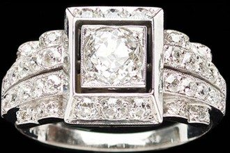 Art Deco style platinum diamond ring set with a central diamond (0.72ct H )in a square setting, the shoulders set with 3 rows of small diamonds , courtesy Anne Schofield Antiques, Queen Street, Woollahra, Sydney, Australia
