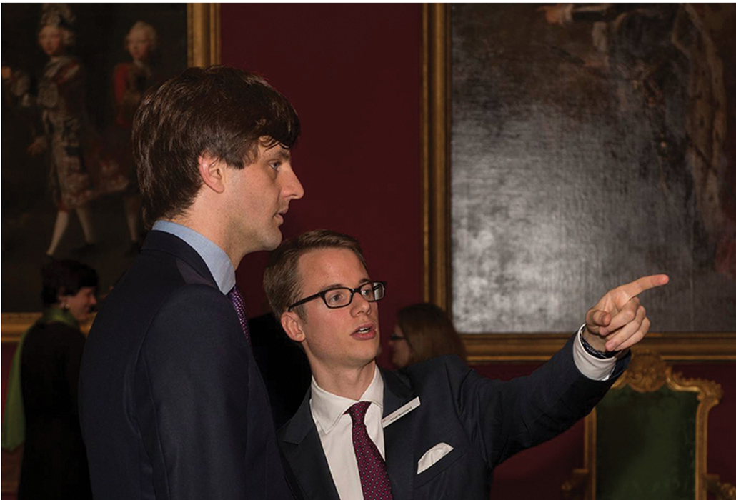 Dr. Wolf Burchard (right) with Prince Ernst-August of Hanover at The Queen's Gallery, London, during The First Georgians exhibition.