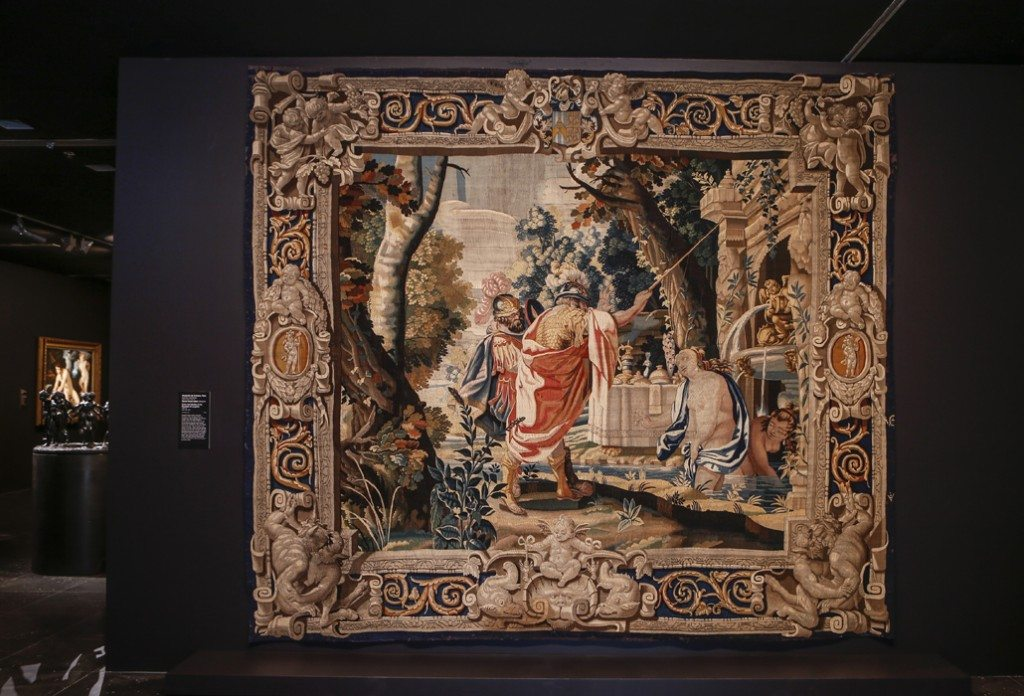 Carlo and Ubaldo at the Fountain of Laughter 1640-1650 , ALEXANDRE DE COMANS, Paris (tapestry workshop), courtesy National Gallery of Victoria