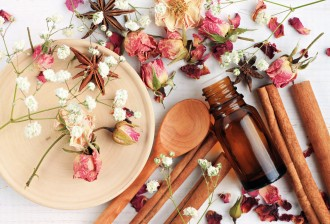 Essential oil blend of rose, cinnamon, anise