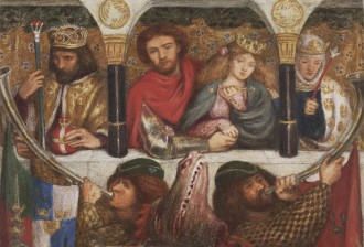 Dante Gabriel Rossetti    - The wedding of St George 1864, watercolour and bodycolour with gum and scraping out over traces of pencil courtesy Art Gallery of New South Wales Purchased with funds provided by John Schaeffer 2003