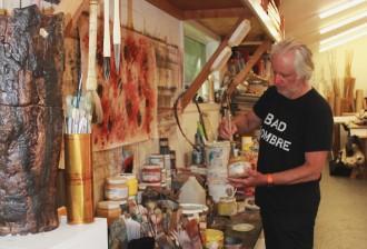 Artist David Rankin in his studio on Shelter Island, New York, photo by Allison Weibye