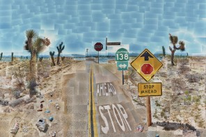 David Hockney, Pearblossom Hwy., 11 - 18th April 1986, #2, April 11-18, 1986, Chromogenic prints mounted on paper honeycomb panel, 181.6 × 271.8 cm (71 1/2 × 107 in.), The J. Paul Getty Museum, Los Angeles, © 1986 David Hockney, 97.XM.39