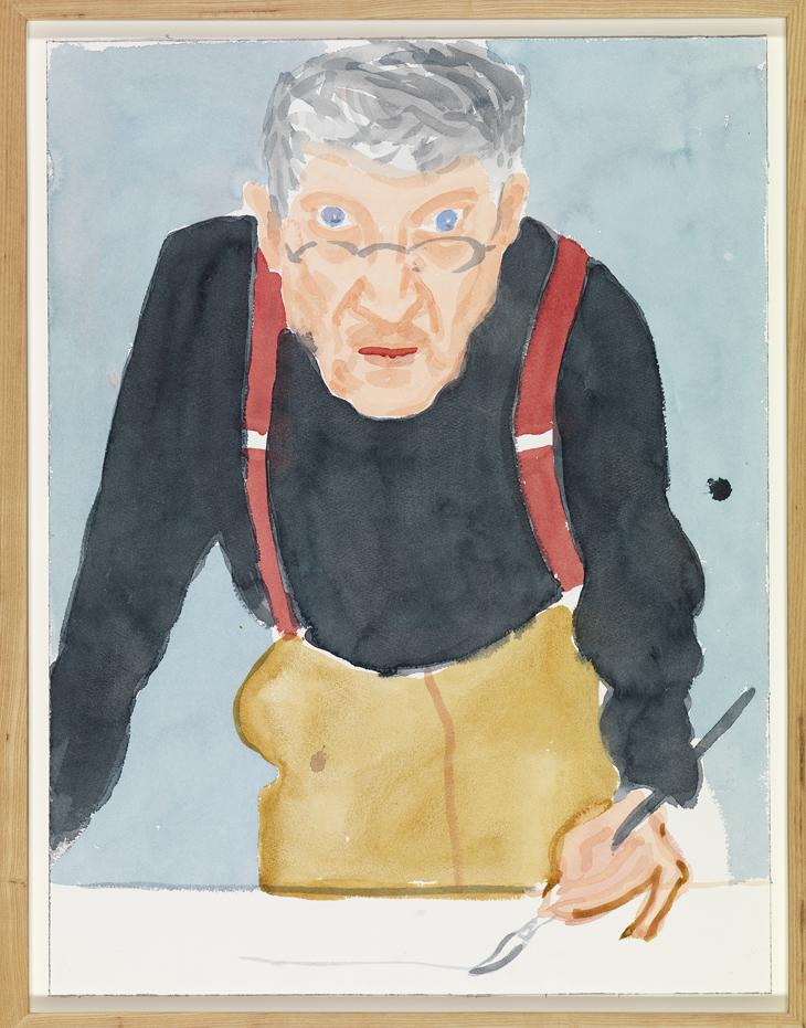 "David Hockney ""Self Portrait with Red Braces"" 2003 Watercolor on paper 24 x 18 1/8"" © David Hockney Photo Credit: Richard Schmidt"