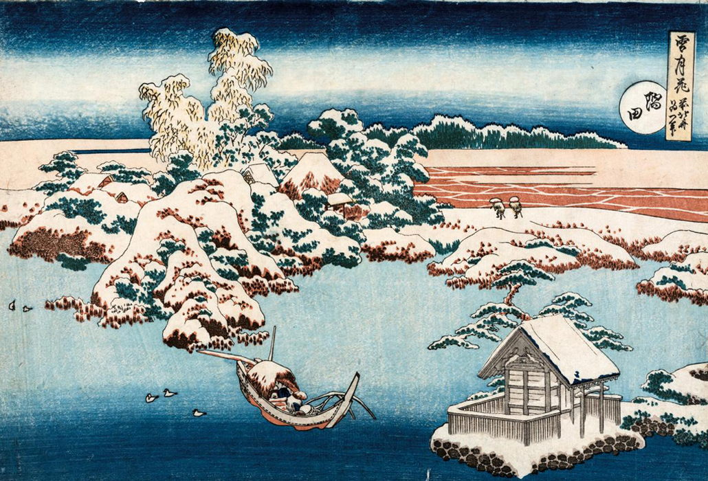 Katsushika Hokusai Snow on the Sumida River (Sumida) c. 1833 from the Snow, Moon and Flowers (setsu-getsu-ka) series colour woodblock 25.6 x 37.2 cm (image and sheet) The Japan Ukiyo-e Museum, Matsumoto