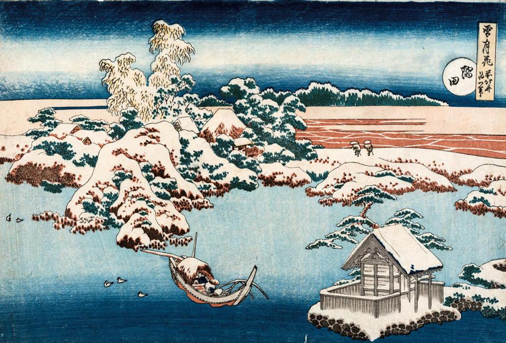 Katsushika Hokusai Snow on the Sumida River (Sumida) c. 1833 from the Snow, Moon and Flowers (setsu-getsu-ka) series colour woodblock 25.6 x 37.2 cm (image and sheet) The Japan Ukiyo-e Museum, Matsumoto
