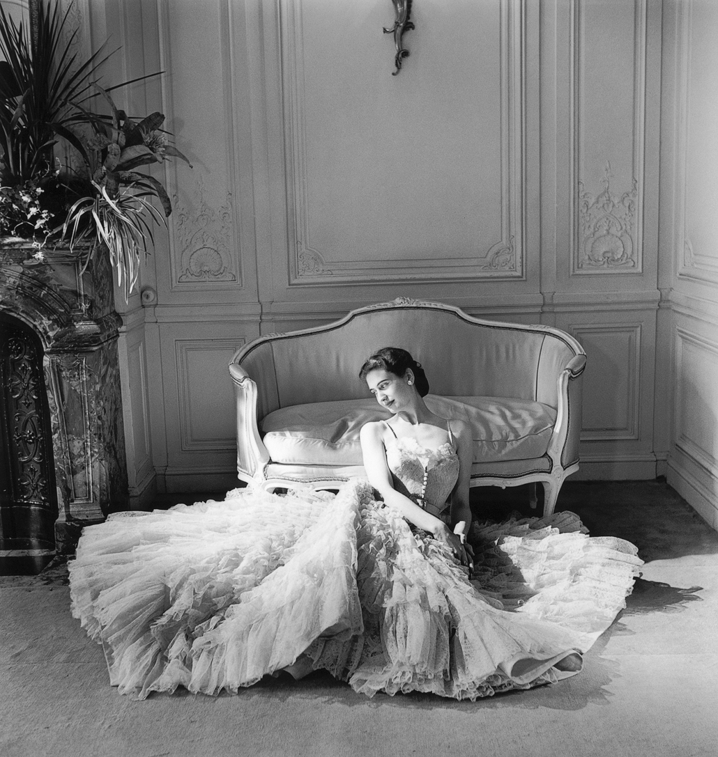 Christian Dior, Paris (fashion house); Christian Dior (designer)  Eugenie dress, autumn?winter 1948 haute couture collection © Willy Maywald/ADAGP, Paris. Licensed by Viscopy, Sydney
