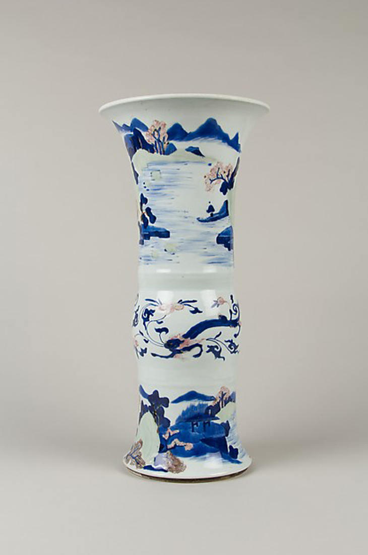 Vase with landscape scenes , late 17th century China, Qing dynasty (1644–1911), Kangxi period (1662–1722) Porcelain with raised decoration, painted with cobalt blue and copper red under a clear glaze with a celadon wash  ; H. 17 1/8 in. (43.5 cm) The Metropolitan Museum of Art, New York, Bequest of Mary Clark Thompson, 1923 (24.80.165) courtesy The Metropolitan Museum of Art New York