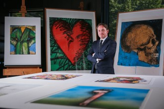 Tony Ellwood, Director, NGV with a selection of prints donated to the National Gallery of Victoria by artist Jim Dine. Photo: Wayne Taylor