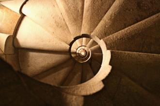 Spiral Staircase inside Sagrada Familia by Antonin Gaudi, Barcelona